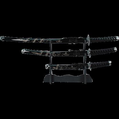 Black Carved Dragon Sword Set
