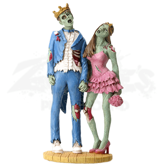 King and Queen Zombie Couple Statue