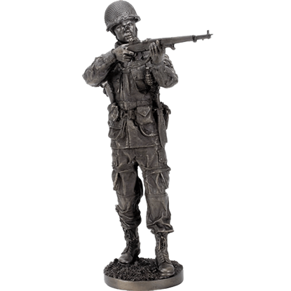 WWII Soldier Taking Aim Statue