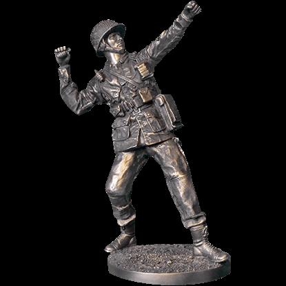 Grenade Toss WWII Soldier Statue