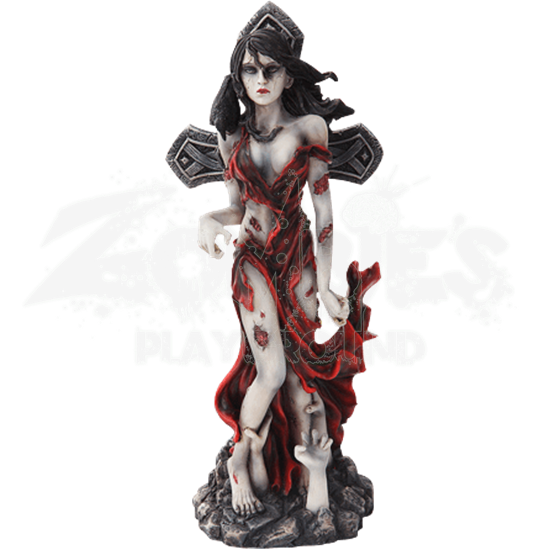 Tattered Zombie Lady Statue