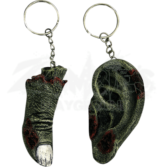 Zombie Ear and Finger Keychain Set