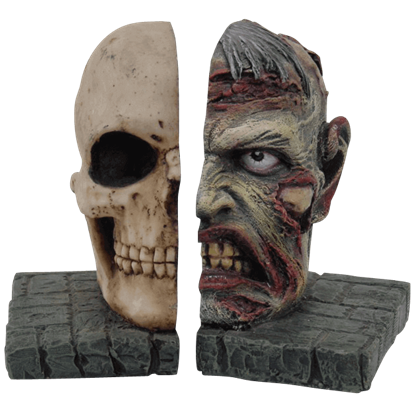 Zombie and Skull Bookend Set