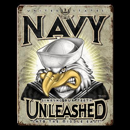 US Navy Unleashed Vintage Steel Sign