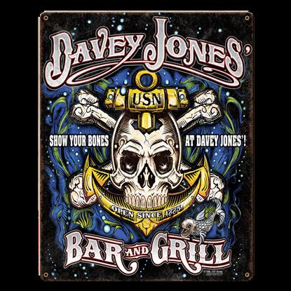 USN Davey Jones Bar & Grill Vintage Steel Sign