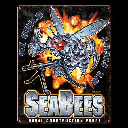 USN Seabees Super Bee Vintage Steel Sign