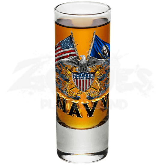 U.S. Navy Double Flag Eagle Shooter Glass