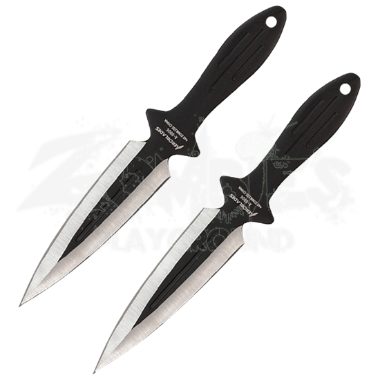 2 Piece Black Spearhead Throwing Knives