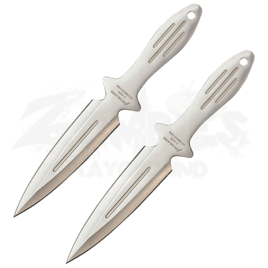 2 Piece Chrome Spearhead Throwing Knives