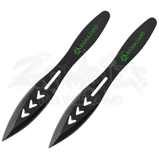 2 Piece Biohazard Triple Arrow Throwing Knives