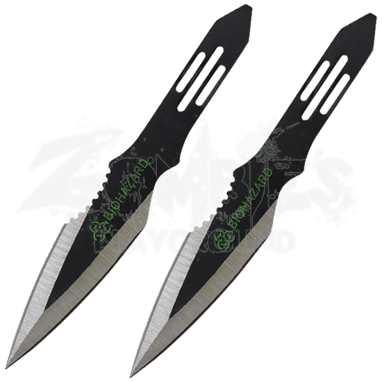2 Piece Biohazard Asymmetrical Spear Throwing Knives