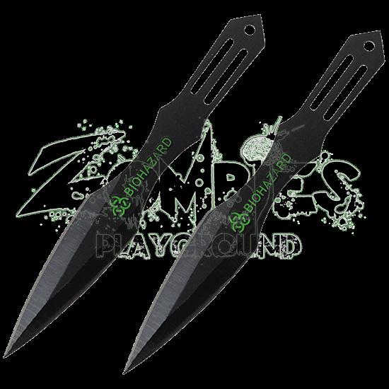 2 Piece Biohazard Dark Strike Throwing Knives