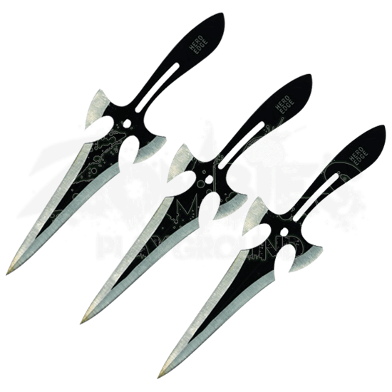 3 Piece Black Triple Strike Throwing Daggers