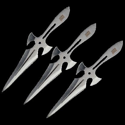 3 Piece Chrome Triple Strike Throwing Daggers