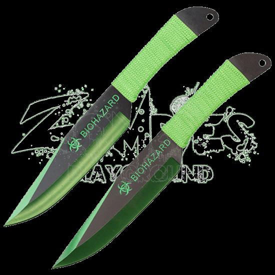 2 Piece Biohazard Green Edge Throwing Knives
