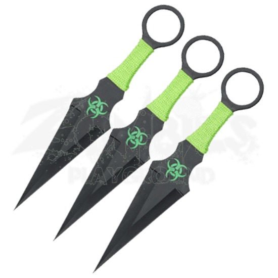 3 Piece Biohazard Hidden Strike Throwing Knives