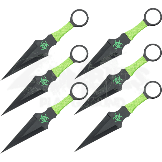 6 Piece Black Zombie Throwing Knives