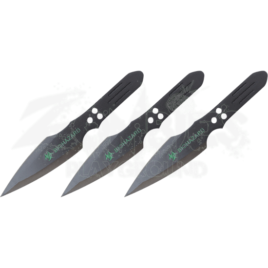 3 Piece Biohazard Black Thunderbolt Throwing Knives