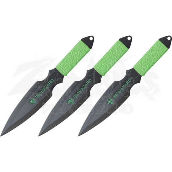3 Piece Biohazard Black Throwing Knives
