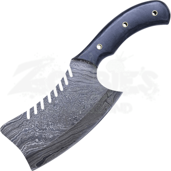 Serrated Damascus Steel Cleaver Knife