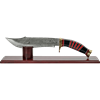 Striped Damascus Bowie with Stand
