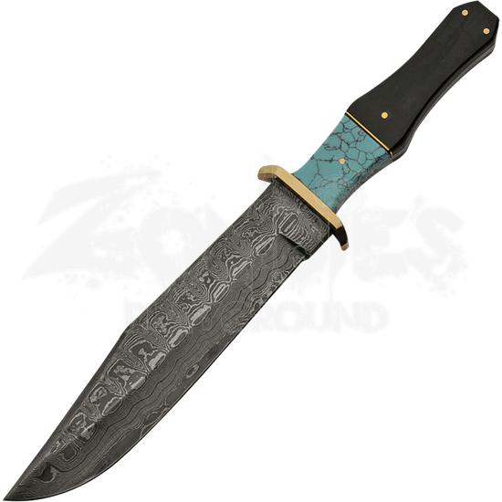 Turquoise Damascus Bowie Knife