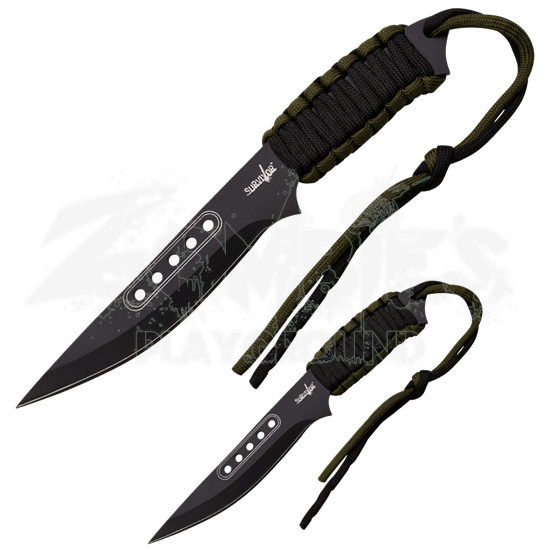 Black and Green Paracord Survival Knife Set