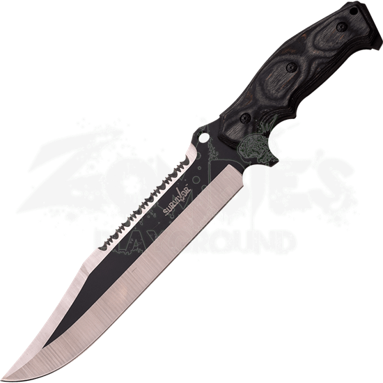 Silver Pakkawood Clip Point Survival Knife
