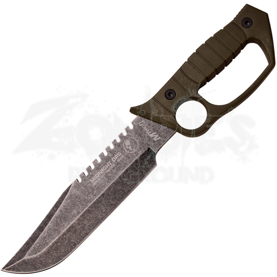 Green Sawback Knuckle Style Tactical Knife