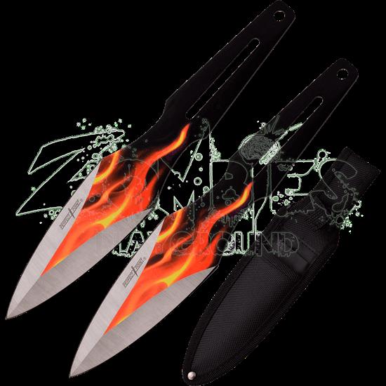 Flaming Throwing Knife Set