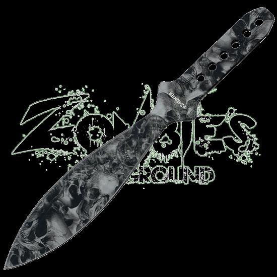 Grey Leaf Blade Skull Throwing Knife