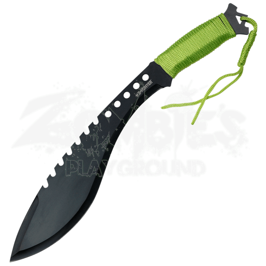 Black Zombie Hunter Sawback Machete