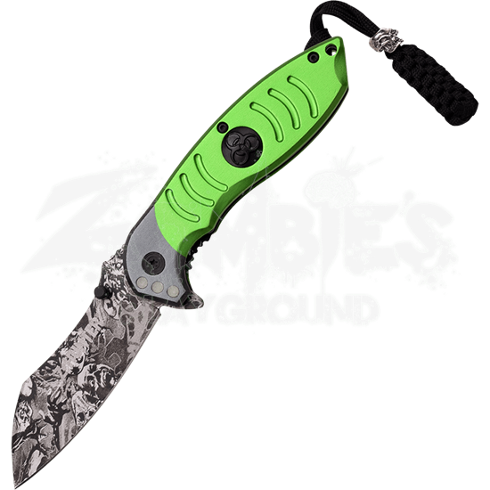 Skull Camo Spring Assisted Knife with Green Handle