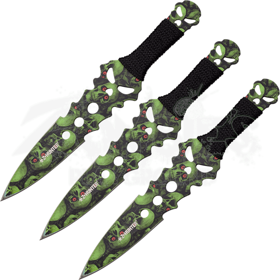 3 Piece Green Skull Camo Throwing Knife Set