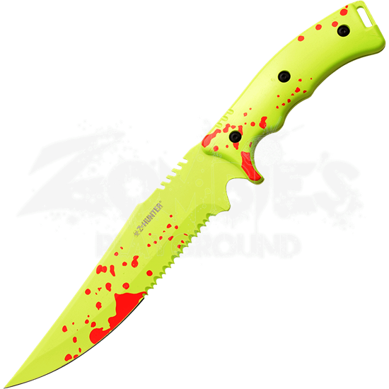 Neon Spattered Zombie Survival Knife