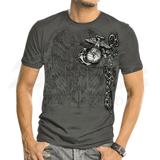 USMC Elite Breed Gray Eagle Foil T-Shirt