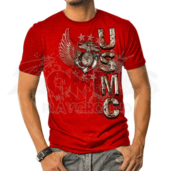 USMC Elite Breed Wings and Stars Foil T-Shirt