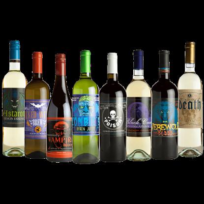 Glowing Halloween Slapsticker Wine Bottle Labels