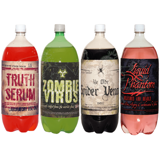 Halloween Slapsticker Soda Bottle Labels