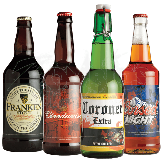 Glowing Halloween Slapsticker Beer Bottle Labels