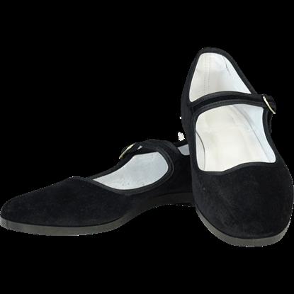 Black Velvet Lady Jane Shoes