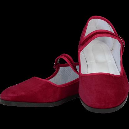 Burgundy Velvet Lady Jane Shoes