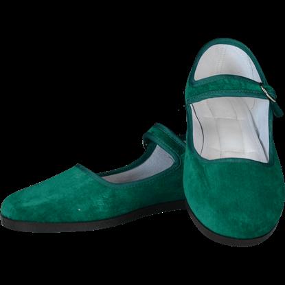 Jade Velvet Lady Jane Shoes