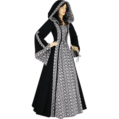 Black Medieval Maiden Hooded Dress