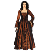 Brown Embroidered Medieval Dress