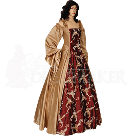 Gold and Burgundy Renaissance Dress
