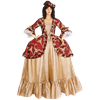 Gold and Burgundy Baroque Antoinette Dress