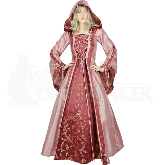 Hooded Renaissance Sorceress Gown - Rose and Red