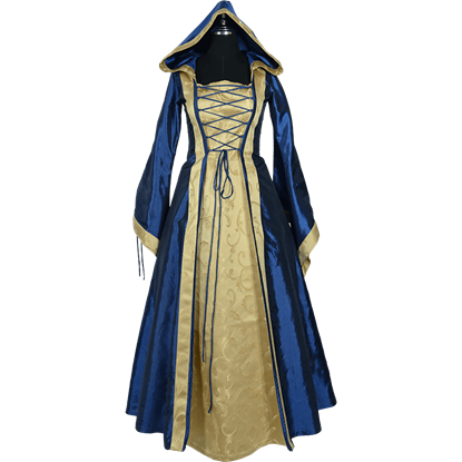 Hooded Renaissance Sorceress Gown - Blue and Gold