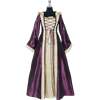 Hooded Renaissance Sorceress Gown - Purple and Ivory